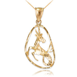 Gold Capricorn Zodiac Sign DC Pendant Necklace