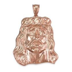Rose Gold Jesus Face Cuban Link Crown Pendant