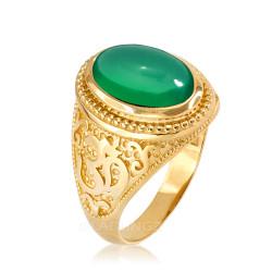 Gold Om Oval Cabochon Green Onyx Gemstone Mens Yoga Ring