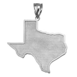 White Gold Mens Large Texas State Map Pendant