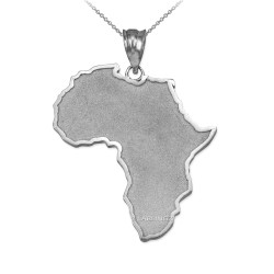 Solid Sterling Silver Africa Map Pendant Necklace