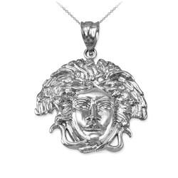 White Gold Medusa Charm Necklace