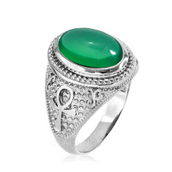 White Gold Egyptian Ankh Cross Green Onyx Statement Ring.