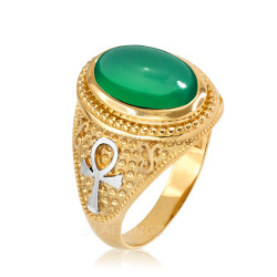 Two-Tone Yellow Gold Egyptian Ankh Cross Green Onyx Statement Ring.