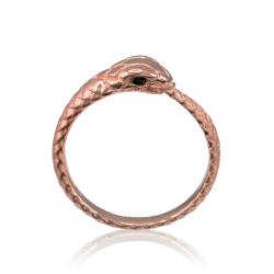Rose Gold Ouroboros Snake Black Diamond Ring Band
