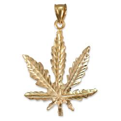 Yellow Gold Marijuana Weed DC Pendant