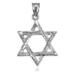 White Gold Jewish Star of David DC Pendant