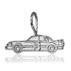 Sterling Silver Textured Race Car #3 Charm Pendant
