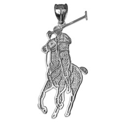 Sterling Silver Polo Horse Rider Charm Pendant