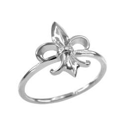Sterling Silver Gold Fleur-de-Lis Ring