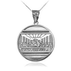 White Gold Last Supper Medallion Pendant Necklace