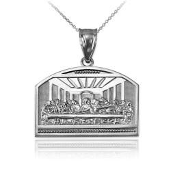 White Gold Last Supper Pendant Necklace