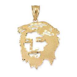 Yellow Gold Jesus Face DC Pendant (S/L)