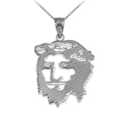 Sterling Silver Jesus Face DC Charm Necklace.