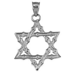 Sterling Silver Jewish Star of David Reversible Pendant