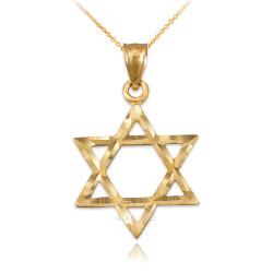 Yellow Gold Jewish Star of David DC Charm Necklace