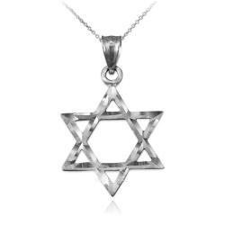 White Gold Jewish Star of David DC Charm Necklace