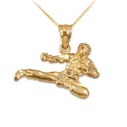 Yellow Gold Karate Kick DC Charm Necklace