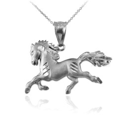 White Gold Galloping Horse Satin DC Charm Necklace