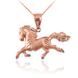 Rose Gold Galloping Horse Satin DC Charm Necklace