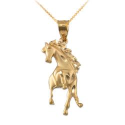 Yellow Gold Stallion Horse Satin DC Pendant Necklace