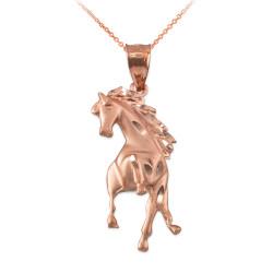 Rose Gold Stallion Horse Satin DC Pendant Necklace