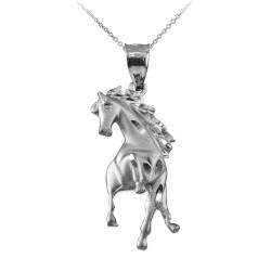 Sterling Silver Stallion Horse Satin DC Pendant Necklace