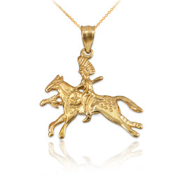 Solid Gold Indian Chief Horse Rider Pendant Necklace