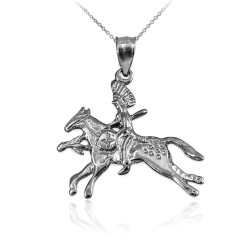 Solid White Gold Indian Chief Horse Rider Pendant Necklace