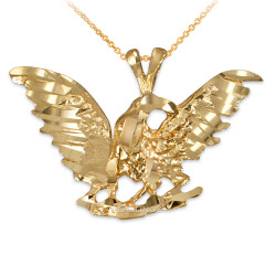 Yellow Gold Eagle DC Pendant Necklace