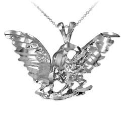 White Gold Eagle DC Pendant Necklace