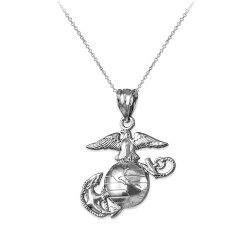 White Gold US Marine Corps Womens Charm Necklace