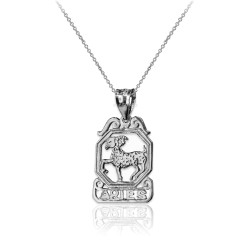 White Gold Open Design Aries Zodiac Charm Necklace