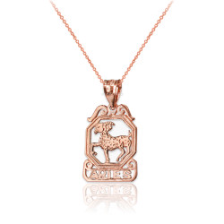 Rose Gold Open Design Aries Zodiac Charm Necklace