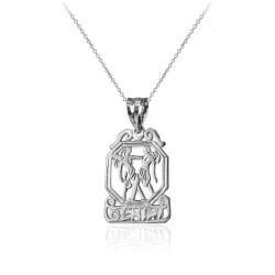 Sterling Silver Open Design Gemini Zodiac Charm Necklace