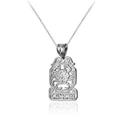 White Gold Open Design Cancer Zodiac Charm Necklace