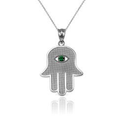 Sterling SIlver Hamsa Green CZ Evil Eye Pendant Necklace
