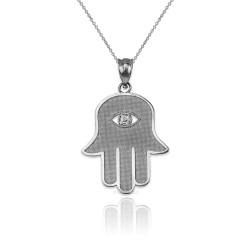 Sterling Silver Hamsa Clear CZ Evil Eye Pendant Necklace