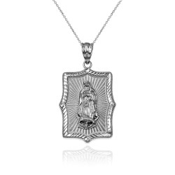 Our Lady of Guadalupe White Gold DC Pendant Necklace