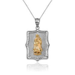 Two-Tone White & Yellow Gold Lady Guadalupe DC Pendant Necklace