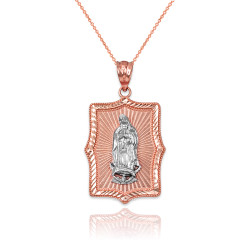 Two-Tone Rose & White Gold Lady Guadalupe DC Pendant Necklace
