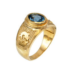 Yellow Gold Pisces Zodiac Sign March Birthstone Aqua CZ Ring