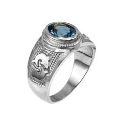 White Gold Pisces Zodiac Sign March Birthstone Aqua CZ Ring