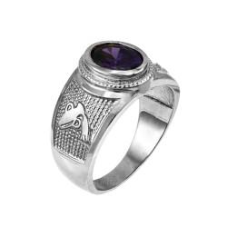 White Gold Aquarius Zodiac Sign February Birthstone Purple CZ Ring
