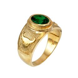 Yellow Gold Taurus Zodiac Sign May Birthstone Green CZ Ring