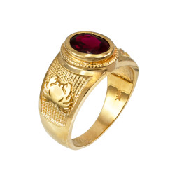 Yellow Gold Cancer Zodiac Sign July Birthstone Red CZ Ring