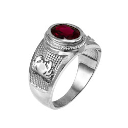 White Gold Cancer Zodiac Sign July Birthstone Red CZ Ring