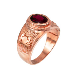 Rose Gold Cancer Zodiac Sign July Birthstone Red CZ Ring