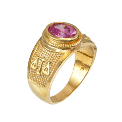 Yellow Gold Libra Zodiac Sign October Birthstone Pink CZ Ring