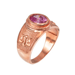 Rose Gold Libra Zodiac Sign October Birthstone Pink CZ Ring